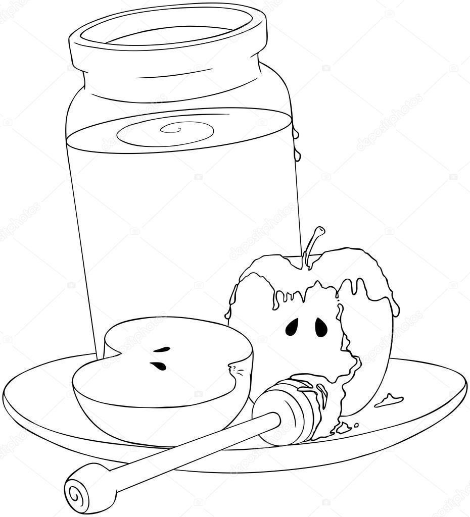 Rosh Hashaná miel y manzanas para colorear página — Vector de stock ...