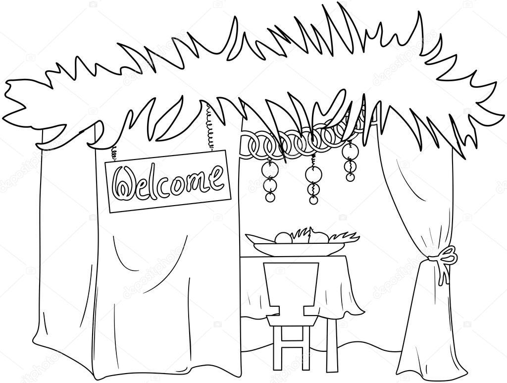 Sucá para sukkot Página para colorear — Vector de stock © LironPeer ...