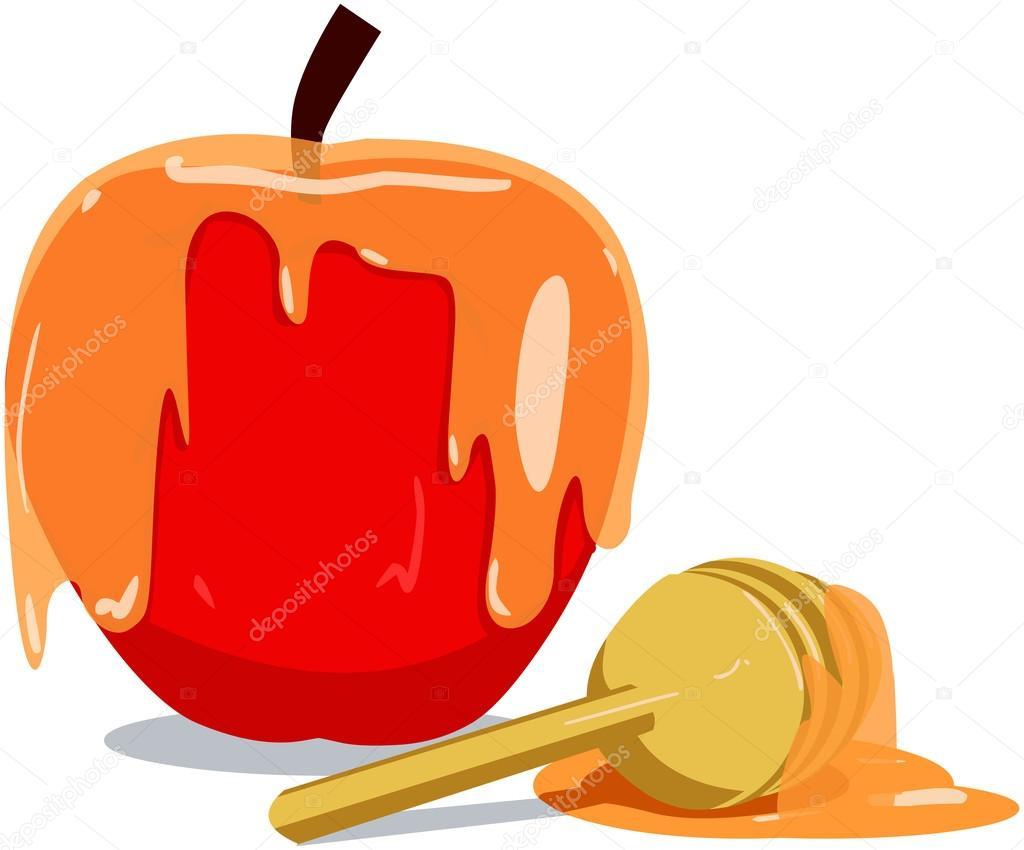 manzana y miel para rosh hashaná — Archivo Imágenes Vectoriales ...