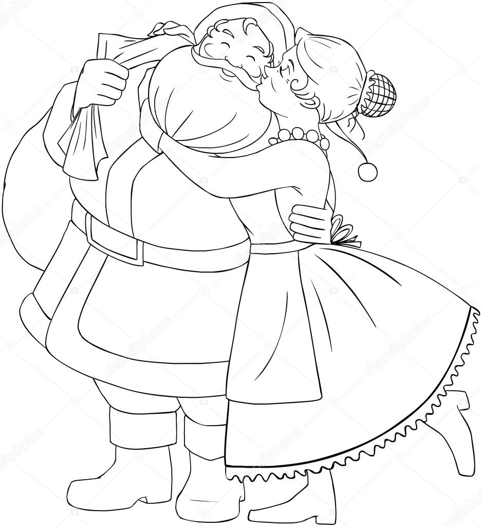 Mrs Claus Kisses Santa On Cheek And Hugs Coloring Page — Stock ...