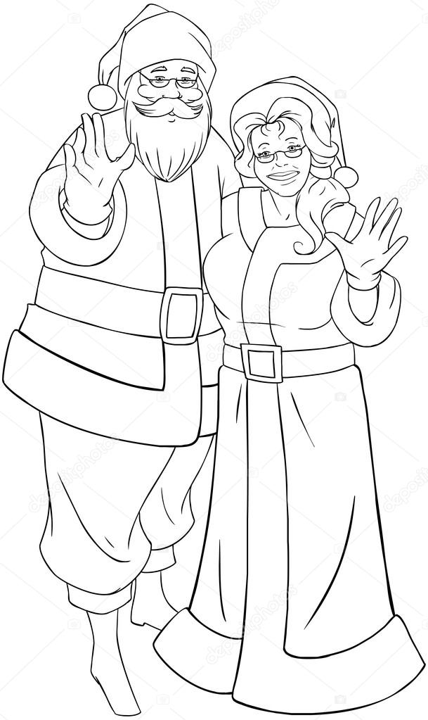 Santa And Mrs Claus Waving Hands For Christmas Coloring Page — Stock ...