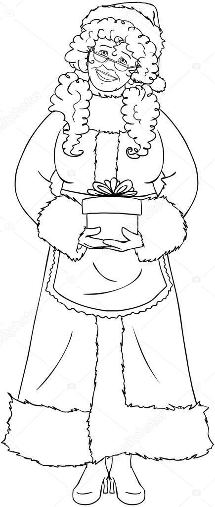 la señora santa claus sosteniendo un regalo de Navidad para colorear ...