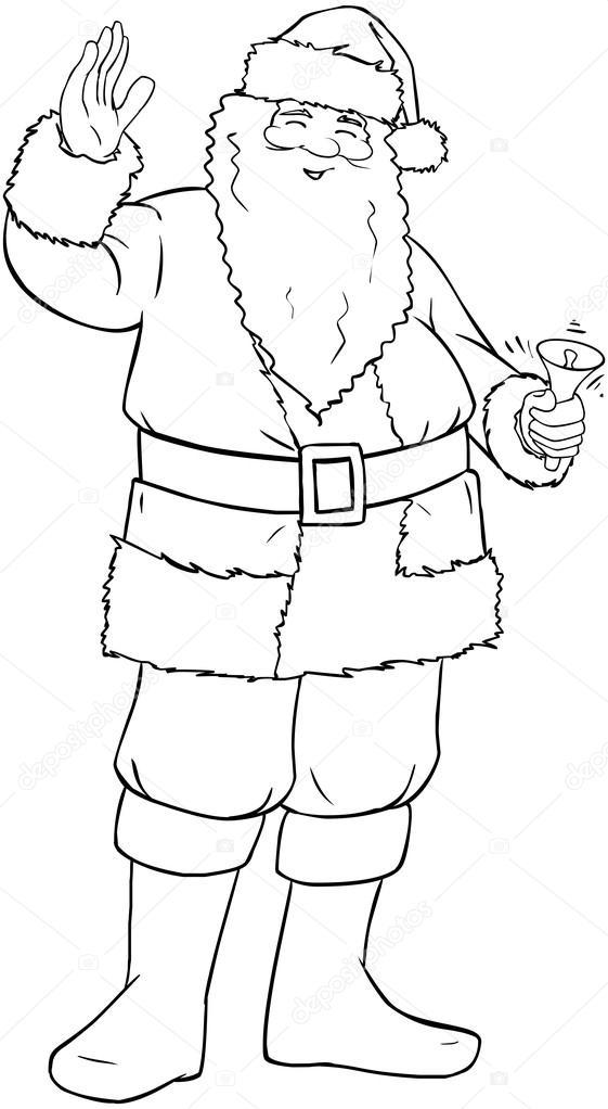 Santa claus con campana y agitando para Navidad Página para colorear ...