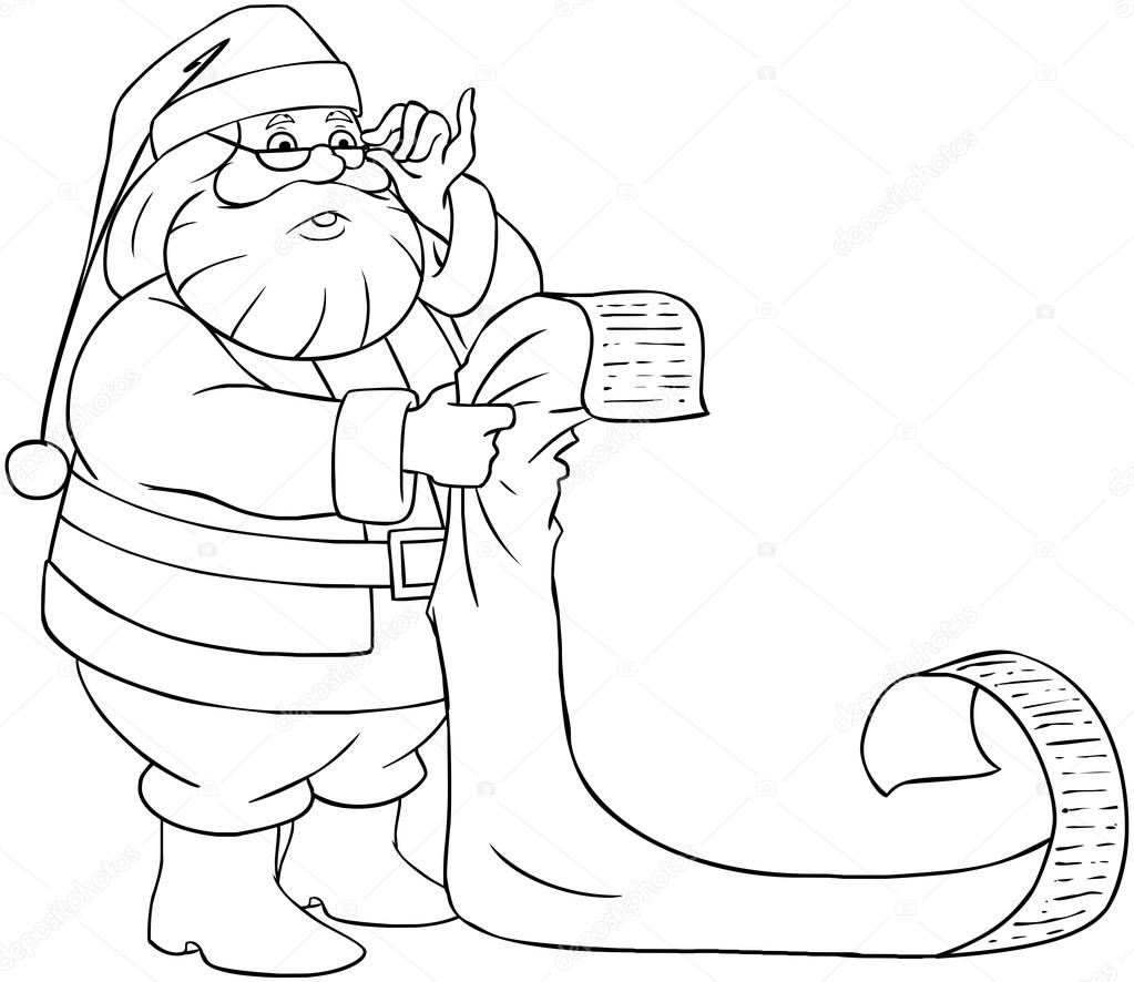 santa claus reads from christmas list coloring page u2014 stock vector