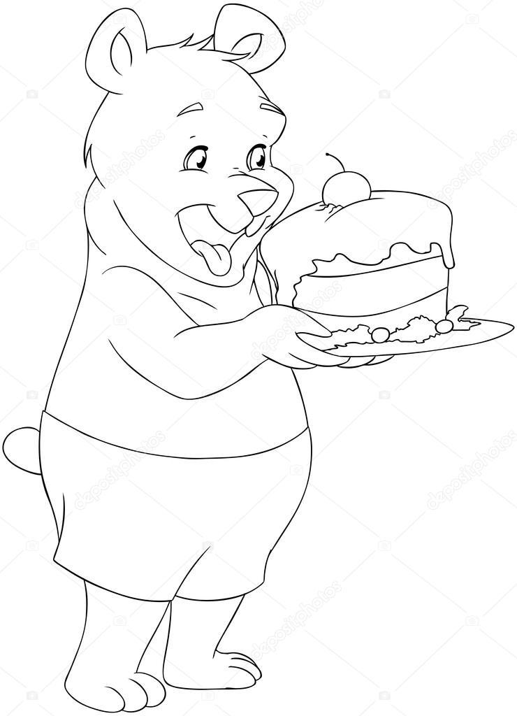 oso joven sosteniendo un pastel para colorear página — Archivo ...