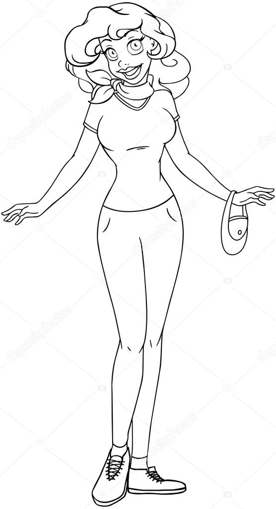 African Teenage Girl In TShirt And Pants Coloring Page Stock
