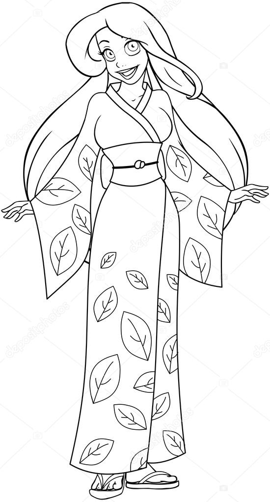mujer caucásica con kimono Página para colorear — Vector de stock ...