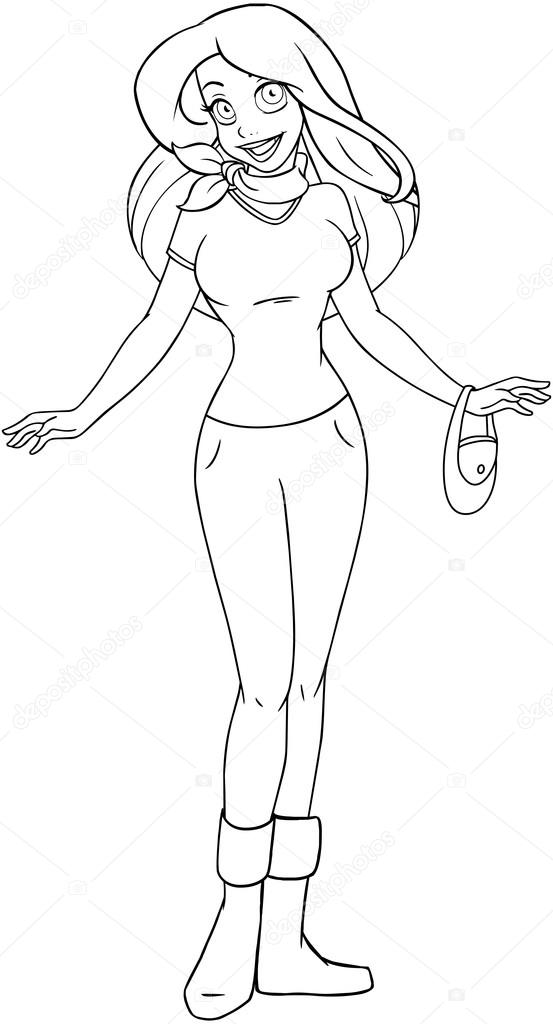Teenage Girl In Tshirt And Pants Coloring Page Stock Vector