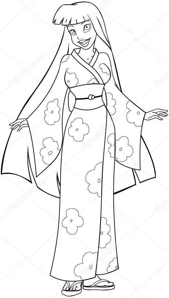 mujer asiática en kimono Página para colorear — Vector de stock ...