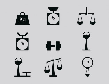 Web icon set - scales, weighing, weight, balance. vector illustration clip art vector