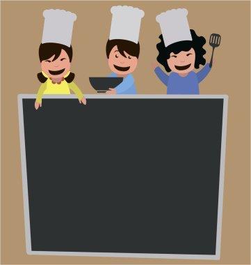 Kids holding cooking utensils