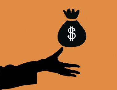 Hand carry payment and dollar icon