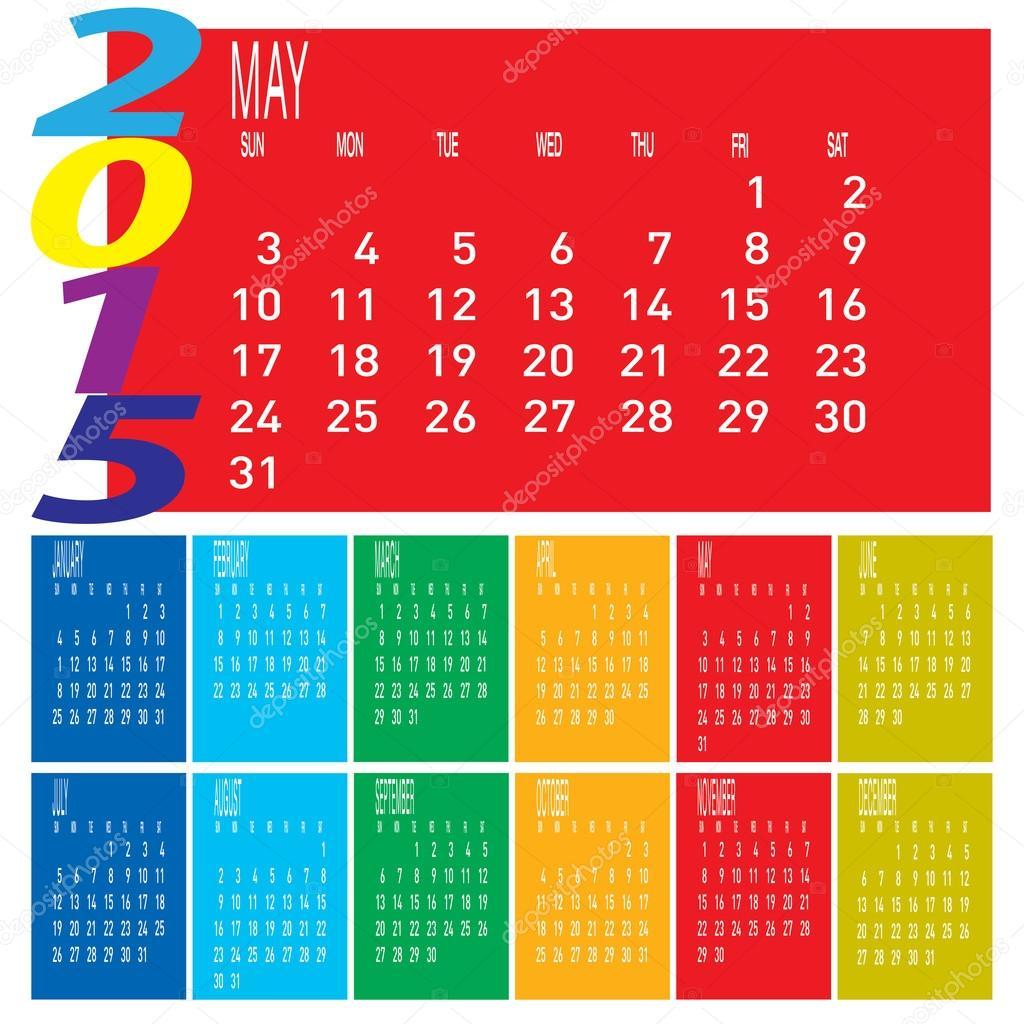 Calendario Anno 2015.Colorato Calendario Anno 2015 Vettoriali Stock C Kobfujar