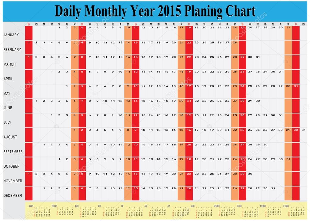 daily monthly yearly 2015 calendar planning chart stock vector