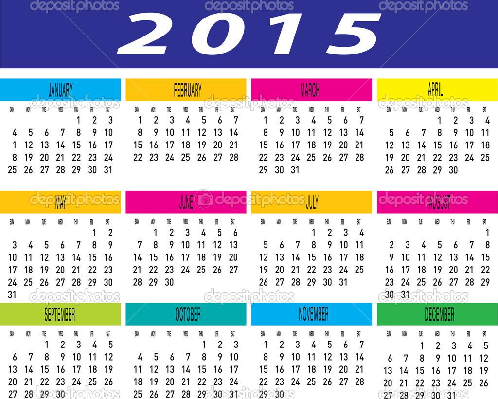 tägliche monatliche bunte Jahr 2015 Kalender — Stockvektor ...