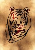 staré žluté pozadí s tygr