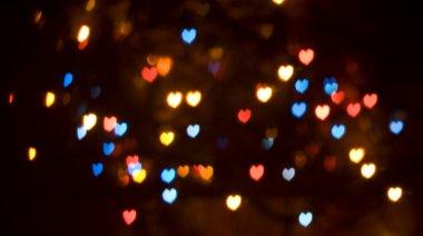 Colorful bokeh heart-shaped lights