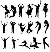 Fotografia ballare molti sagoma. illustrazione vettoriale