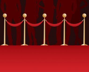silhouette on a red carpet.