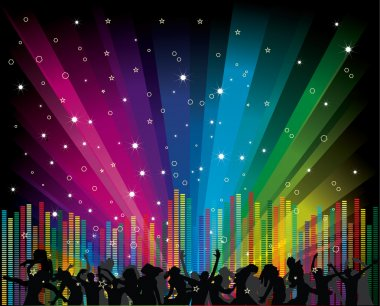 Cool vector illustration with dancers and equalizer on rainbow background stock vector