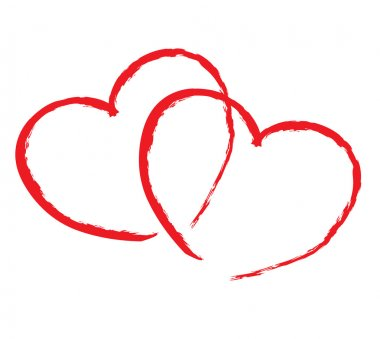isolated two red hearts