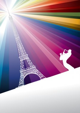 Jazz trumpeter in Paris on rainbow background