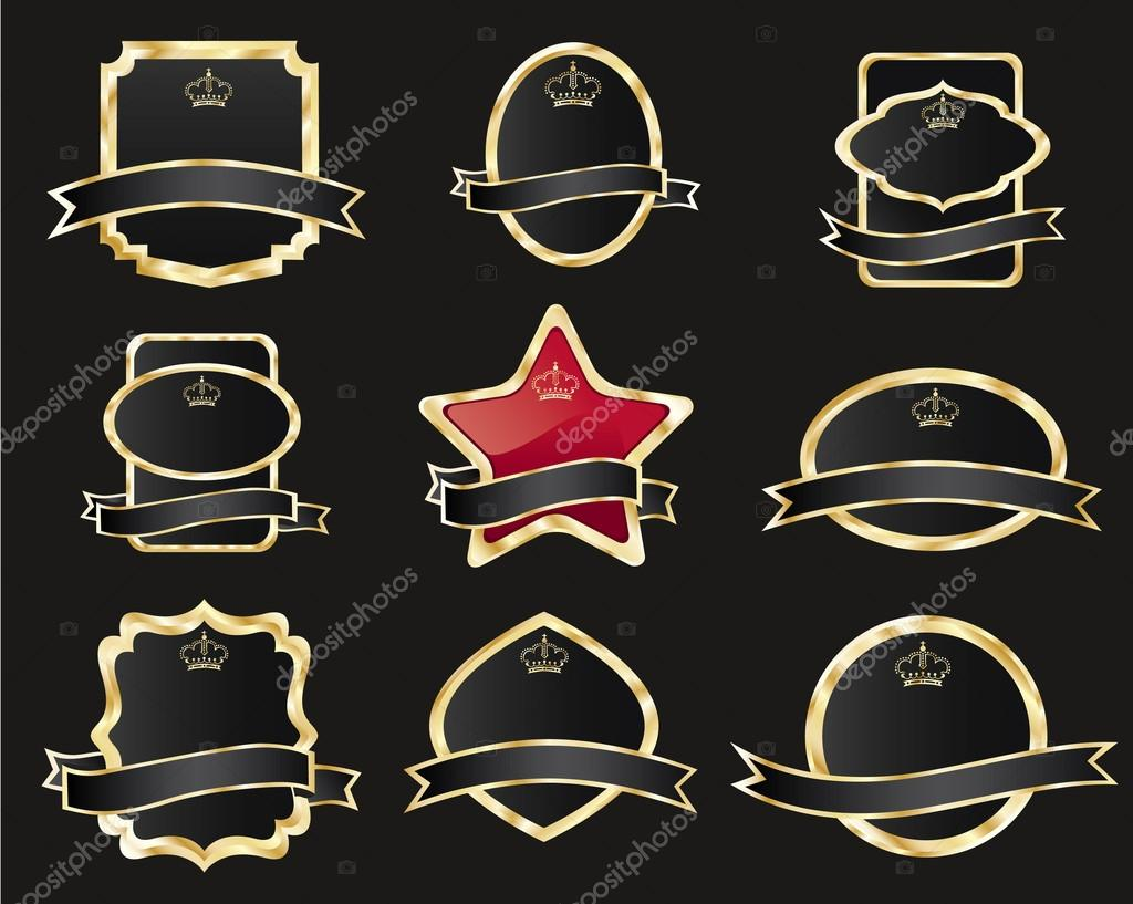 8dd5b76e843 set of black gold-framed labels — Stock Vector © booblgum  18093779
