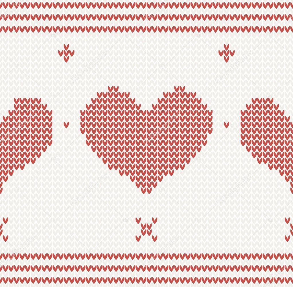patrón de punto vector con corazón rojo — Archivo Imágenes ...