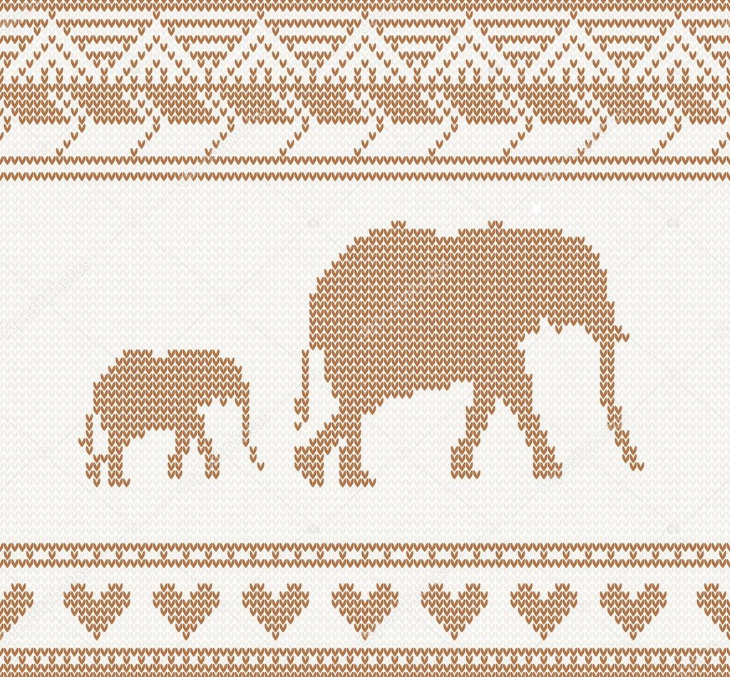 Knitted pattern with elephant — Stock Vector © booblgum #46731905