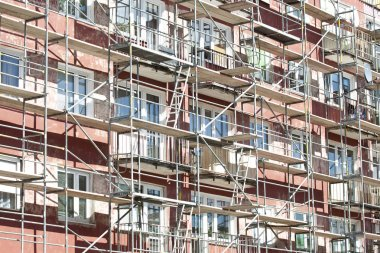 Renovation of an apartment building with scaffolding