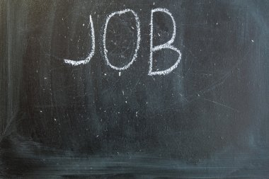 Chalkboard with the words jobs