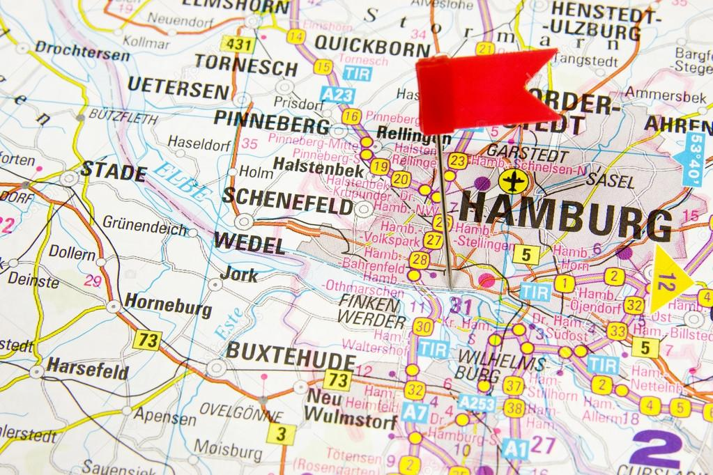 Hamburg On The Map Of Germany Highlighted Stock Photo C Bzyxx