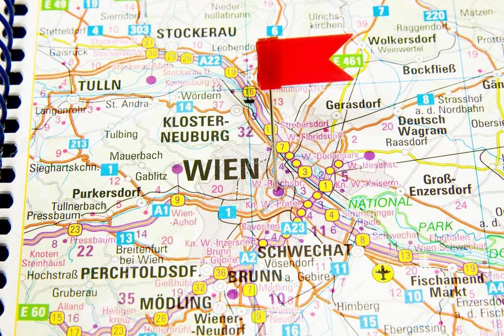 wien karta karta över den valda staden Wien, Österrike — Stockfotografi  wien karta