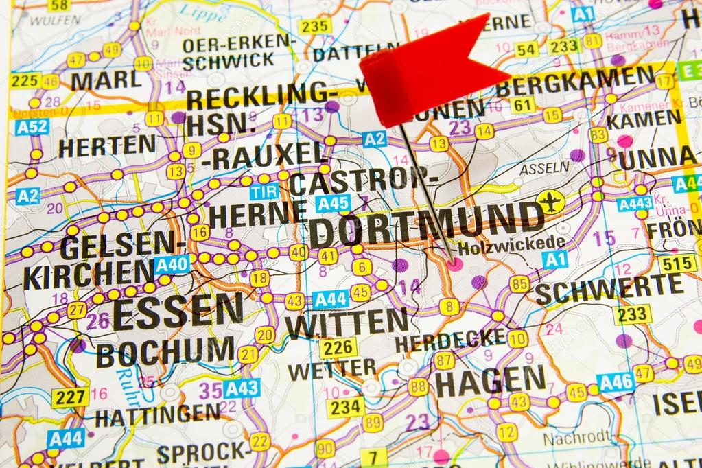 Dortmund On Map Of Germany.Map Of The Selected City Dortmund Germany Stock Photo C Bzyxx