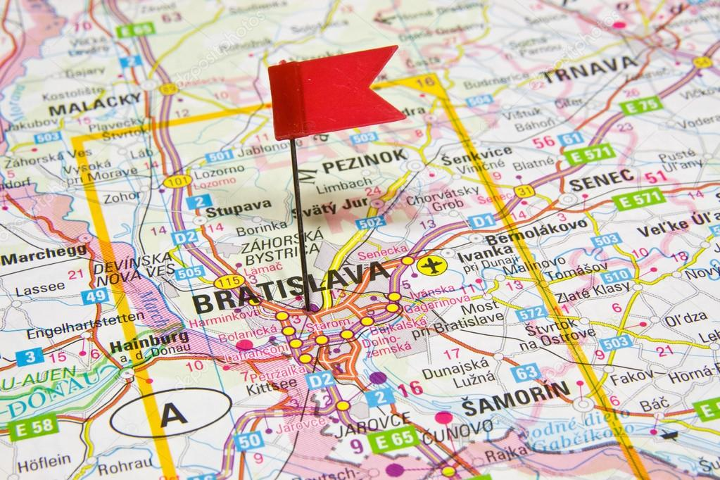 Map of the selected city Bratislava Slovakia Stock Photo bzyxx