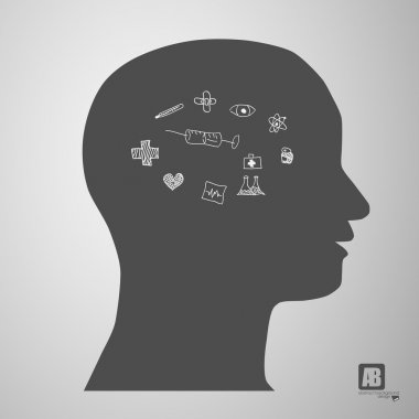 Man head silhouette with medicine sings