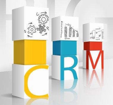 3d illustration concept: crm