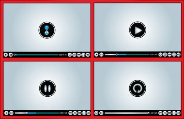 Web or Internet based Glossy Video Player different versions - Buffering, Play, Pause and Replay illustration with different buttons (Like, watch later, HD, Full Screen Mode, Volume Control)