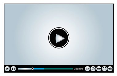 Web or Internet based Glossy Video Player different versions - Loading, Buffering, Play, Pause and Replay illustration with different buttons Like, watch later, HD, Full Screen Mode, Volume Control