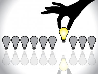 Hand selecting a bright light bulb idea from a list of dull colored bulb available for selection - concept illustration