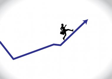 A professional businessman running up an business arrow which is growing in revenue and profits of company