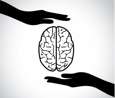 Hand silhouettes protecting a human brain or mind - mental health services icon or symbol concept design illustration art