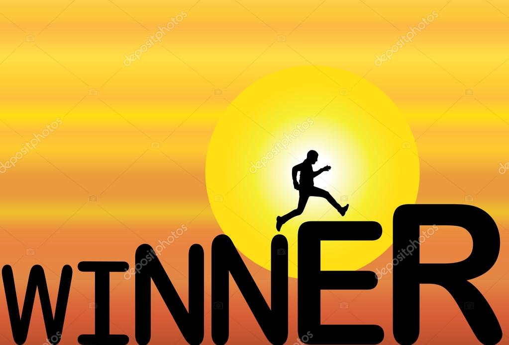 A fit healthy man running up over winner text with a bright white background - concept design illustration art