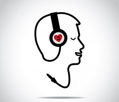 Headphones with love music symbol and its chord shaped in the form of a young man listening to and enjoying musical songs with closed eyes : concept design illustration artwork