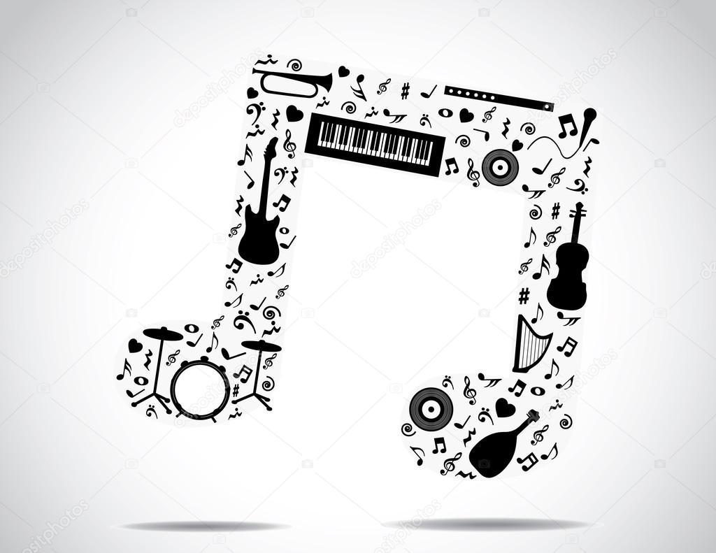 Musik Symbol Der Verschiedenen Musikinstrumente Und Noten Mit Einem Hellen  Weißen Hintergrund: Konzept, Design, Illustration Ungewöhnliche Kunst U2014  Foto Von ...