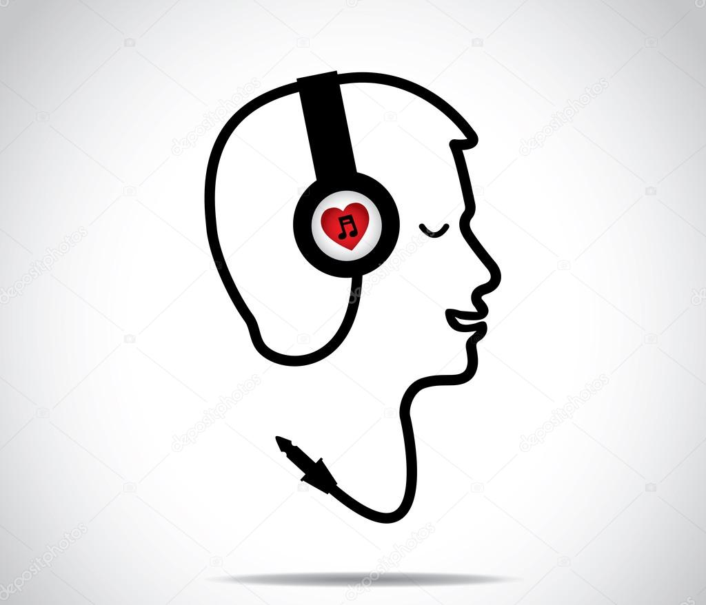 Headphones with love music symbol and its chord shaped in the form headphones with love music symbol and its chord shaped in the form of a young man listening to and enjoying musical songs with closed eyes concept design buycottarizona