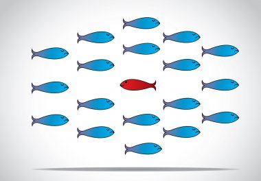 A sharp smart alert happy red fish with open eyes going in the opposite direction of a group of sad blue fishes with closed eyes : Be different or unique concept design illustration