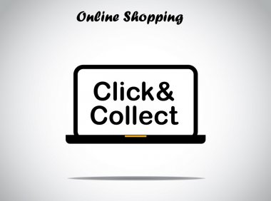 Online shopping concept design illustration unusual art : click and collect text displayed on a black laptop with bright white background