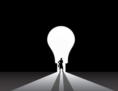 Business woman silhouette standing front of idea lightbulb door. stylish smart businesswoman in suit with suitcase stand thinking, dreaming, planning in front of big light bulb shaped door concept