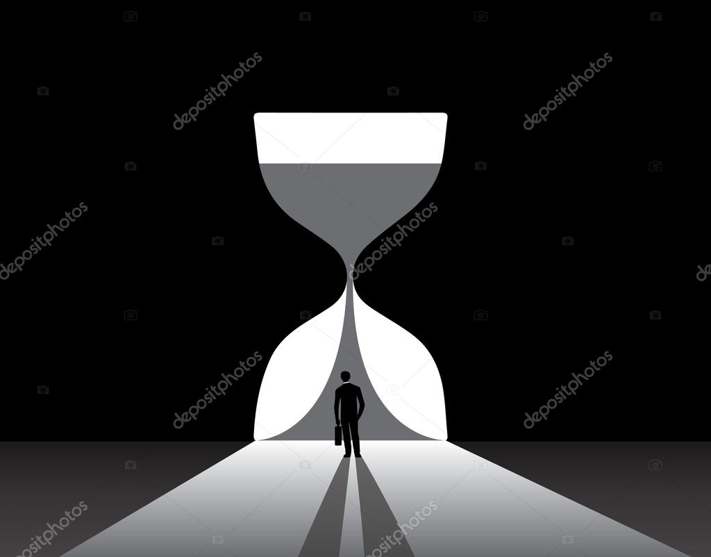 ... glass door. nicely dressed business man silhouette in suit with suitcase stand thinking at the edge of a bright hourglass door u2014 Vector by harishmarnad & Businessman silhouette standing front of big hour glass door ... pezcame.com